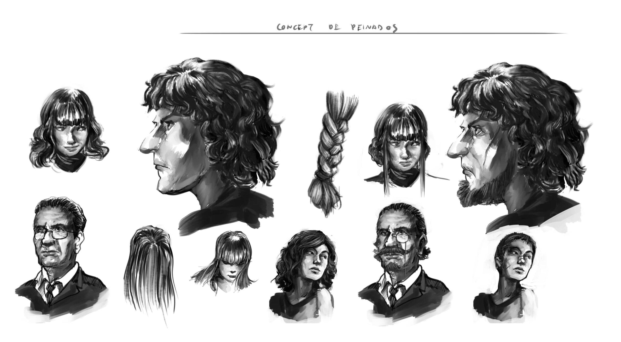 pelo personajes concept art